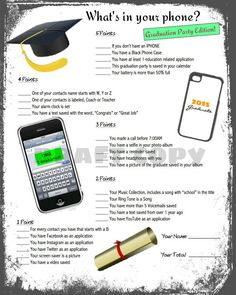 Graduation Party Game-Whats in your phone by 31Flavorsofdesign