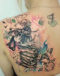 Alice in wonderland tattoo watercolor carolina Avalle