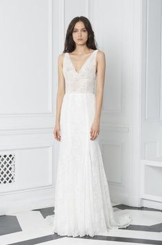 Blush by Monique Lhuillier Fall 2018 embellished lace sleeveless cowl neck sheath gown low back Monique Lhuillier, Fall Wedding Dresses, Bridal Dresses, Lace Wedding, Bridal Collection, Dress Collection, Michigan Wedding Venues, Affordable Wedding Photography, Bridal Fashion Week