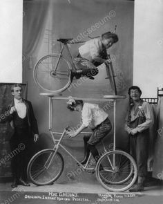 Women In Bike Double Decker Stunt 1900s 8x10 Reprint Of Old Photo