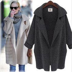 Fashion Long Sleeve Turn-down Collar Trench Coat Cardigan Long Trench Coat For Women Loose Knitted Coat Manteau Femme BF456