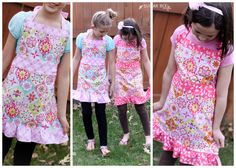 Girl's Apron Tutorial - Sugar Bee Crafts ~ http://www.sugarbeecrafts.com/2014/05/girls-apron-tutorial.html