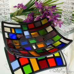 Square fused glass bowl with a stained glass look.