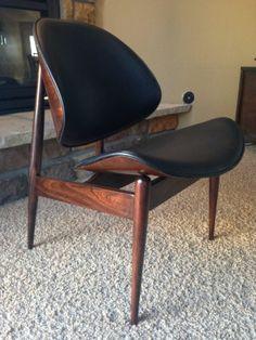 Vintage kodawood clam shell chair mid century modern ebay