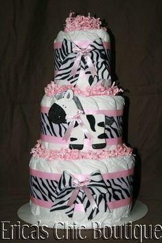 Black, White & Pink Zebra Diaper Cake Baby Girl Shower Gift | eBay