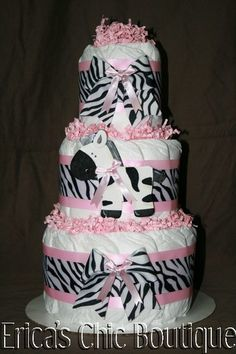 Black, White & Pink Zebra Diaper Cake Baby Girl Shower Gift | eBay