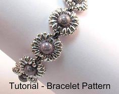 "Beading Tutorial - ""Eclipse"" Beaded Bracelet, Beginner Bracelet Pattern with Superduo Beads, Bead Weaving Bracelet Pattern, PDF"