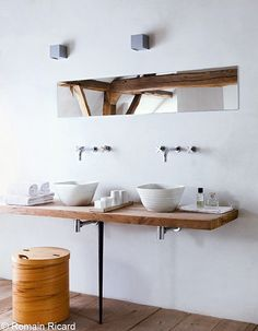 a stunning renovated farmhouse in belgium by the style files, via Flickr - bathroom with floating rustic wood vanity
