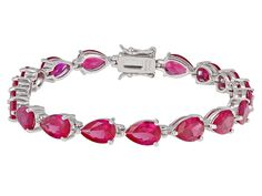 22.19ctw Pear Shape Lab Created Ruby Sterling Silver Bracelet