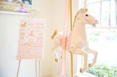 Fact Board + Carousel Pony from a Pink Carousel Birthday Party via Kara's Party Ideas! KarasPartyIdeas.com (35)
