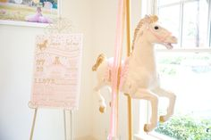 Fact Board + Carousel Pony from a Pink Carousel Birthday Party via Kara's Party Ideas! KarasPartyIdeas.com (35)