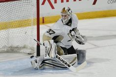 Jeff Zatkoff warming up for his first NHL game