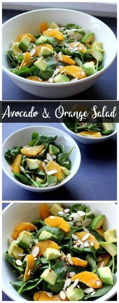 This avocado and orange salad is a delicious vegan & gluten free salad! It only takes a few minutes to put together so it's perfect for an easy weeknight meal! Vegetarian Main Dishes, Vegetarian Recipes, Easy Pasta Salad, Orange Salad, Easy Weeknight Meals, Easy Dinners, Healthy Salad Recipes, Healthy Eating, Healthy Food