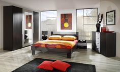 Strong brown color for your bedroom? Kit will be an interesting design. With intense colors beautifully combined.