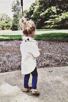 little fashionista ! scarf, flannel,  straight legs & moccasins