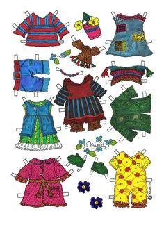 Karen`s Paper Dolls: Astrid 1-2 Paper Doll in Colours. Astrid 1-2 påklædningsdukke i farver.