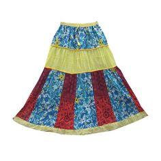 Mogulinterior Yellow Long Skirt Cotton Patchwork