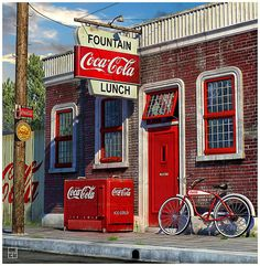 Vintage Coca Cola Ads - some of us are old enough to remember real places that looked very close to this! Coca Cola Store, Coca Cola Ad, Always Coca Cola, World Of Coca Cola, Vintage Coca Cola, Drive In, Vintage Advertisements, Vintage Ads, Vintage Posters