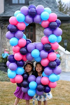 Balloon scultpure in the number of their age each year.