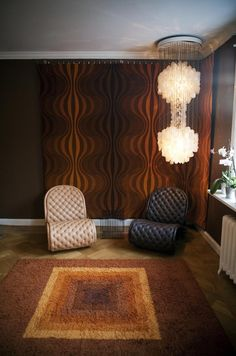 This room's got it all - cool #chairs great #lightfixture fab #draperies and a shagalicious #rug