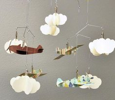 Airplane and Cloud Hanging Mobile Perfect for a Boy for the Bedroom or a Baby Shower. $49.99, via Etsy.
