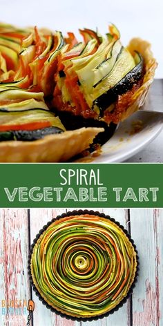 Spiral Vegetable Tart: This gorgeous vegetable tart is the ultimate beautiful side dish! Stun your guests with this recipe easily adaptable for gluten free and vegan diets too. Complete with a video to show you how to make it easily! Quiche Recipes, Tart Recipes, Gluten Free Recipes, Vegan Recipes, Cooking Recipes, Vegetable Tart, Spiral Vegetable Recipes, Vegan Tarts, Cream Of Potato Soup