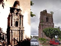 Dito, Noon: The bell tower of the Bacarra Church in Ilocos Norte, 1900s x 2020 #kasaysayan — The bell tower, which was built in the 1830s, tilted after an earthquake in 1931. The dome collapsed after another earthquake, 52 years later, in 1983. Ilocos, Present Day, Philippines, Tower, Building, Norte, Rook, Computer Case, Buildings