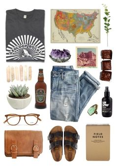 """""""Geology Majors Rock"""" by spazzercat ❤ liked on Polyvore featuring J.Crew, Garrett Leight, Retrò and Birkenstock"""