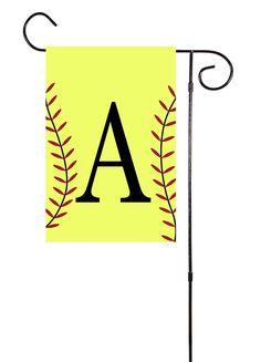 Softball Initial Garden Flag