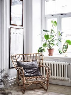 A rattan armchair in a lovely Swedish home