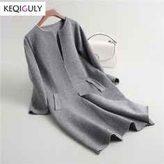 Spring 2018 Women Wool Blends Knitted Sweater Jacket Elegant Long Sleeve O Neck Pockets Solid Color Cardigan Sweater Coat P2057-in Cardigans from Women's Clothing & Accessories on Aliexpress.com | Alibaba Group