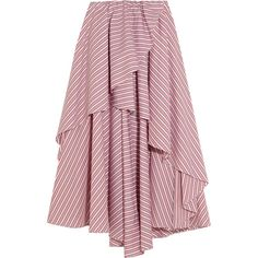 Caroline Constas Adelle asymmetric striped cotton mini skirt ($595) ❤ liked on Polyvore featuring skirts, mini skirts, bottoms, long skirts, short red skirt, short skirts, ruffle mini skirt, red striped skirt and red mini skirt