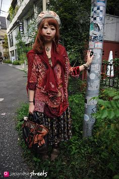 Japanese Street Style. I wouldn't wear this, but I like the way it's put together. I do like quirky fashion.
