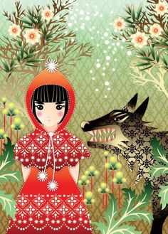 Catalina Estrada, Little Red Riding Hood, Wolf Chez Laurette, Red Ridding Hood, Serpentina, Art Manga, Big Bad Wolf, Red Hood, Little Red, Werewolf, Fairy Tales