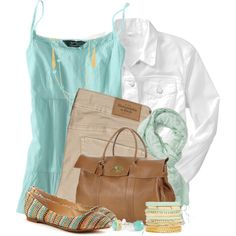 Turquoise Tank & White Denim Jacket, created by brendariley-1 on Polyvore