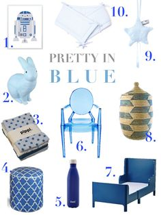 Pretty in Blue, series on MOM4MOM, decorating nursery, babyroom, child room, toddler room, all blue, inspiration, moodboard