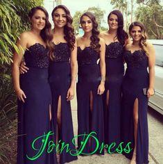 140 USD.Dark Navy Chiffon Sweetheart Beading Bridesmaid Dresses High Split Strapless Slim Natural Long Wedding Party Dress