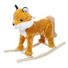 Give your child or grandchild a furry friend that will be a special keepsake for life. Durable enough to ride, yet cuddly enough to love, the Happy Trails Felix the Fox rocking animal will be a treasured toy for years to come. Soft and plush to touch, Happy Trails rocking animals are hand-crafted with a wooden core and built on sturdy wood rockers, featuring handles for balance. Happy Trails products feature a wide variety of rocking animals for the animal-loving child in your life.