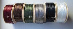 Thread Nymo Beading Thread 6 cloros Size B 88 by Beadwright (Craft Supplies & Tools, Jewelry & Beading Supplies, Beads, fabric, cord, sewing, needle, cotton, d nymo thread, beading thread, quilting thread, beadwright, fiber black, nicole campanella, bead, beading)
