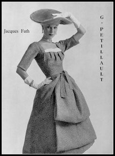 Stella in print ottoman dress by Jacques Fath, photo by Jacques Decaux, 1956