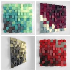 Wood Wall Sculpture - Custom Colors, 3D Effect, Pixel Look, 29x29 inches