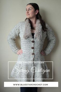 Are you looking for feminine crochet pattern for a crochet jacket to wear during transitional weather? Check out this free women's spring crochet cold pattern that is available for free on my blog blue star crochet. It has been designed in nine different clothing sizes, it has fur collar, emphasised waistline, fully functional pockets and flared out skirt to make you feel really pretty and feminine. Crochet Coat, Crochet Jacket, Crochet Cardigan, Faux Fur Collar, Fur Collars, Crochet Gifts, Free Crochet, Craft Patterns, Crochet Patterns
