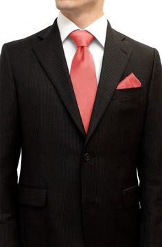 Peach Pink Coral Tie and Pocket Square Set