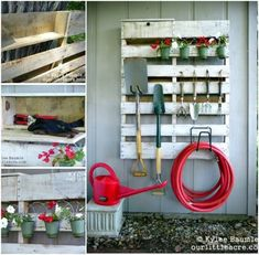 10 Admired Tips AND Tricks: Garden Tool Organizer Simple garden tool storage ana white.Garden Tool Holder Logs garden tool rack how to build.Garden Tool Crafts Storage Sheds. Garden Tool Organization, Garden Tool Storage, Garden Tools, Organization Ideas, Pallet Furniture Tutorial, Pallet Exterior, Pallet Tool, Palette Deco, Outdoor Pallet Projects