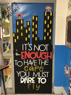 What better way to welcome your students than these ideas for bright classroom doors. (They make great bulletin boards, too! Superhero School Theme, Superhero Bulletin Boards, Superhero Classroom Decorations, School Decorations, School Themes, Classroom Themes, Classroom Welcome Boards, Batman Classroom, Kindergarten Classroom Door