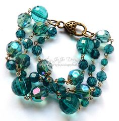 Teal Beaded Bracelet by CraftyJuJuDesigns on Etsy, $12.25