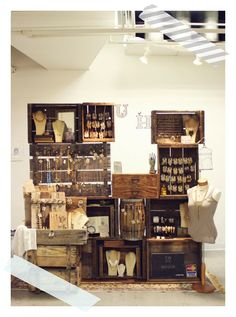 crates + hanging strings + pallet style necklace display - @Debbie Arruda Petrielli I think you should steal this idea.