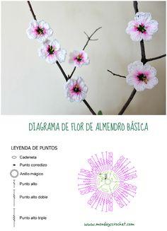 Flor de almendro de crochet / Crochet almond flowers