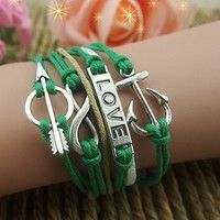 Wish | Vintage Love's Arrow Infinite Anchor Love Multilayer Hand-knit Leather Strap Bracelet