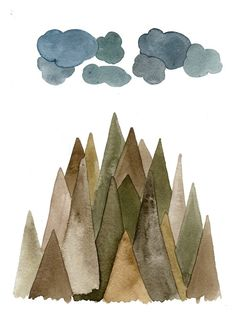 Sierra Mountains  5x7 Watercolor Print by TheBarberShop on Etsy